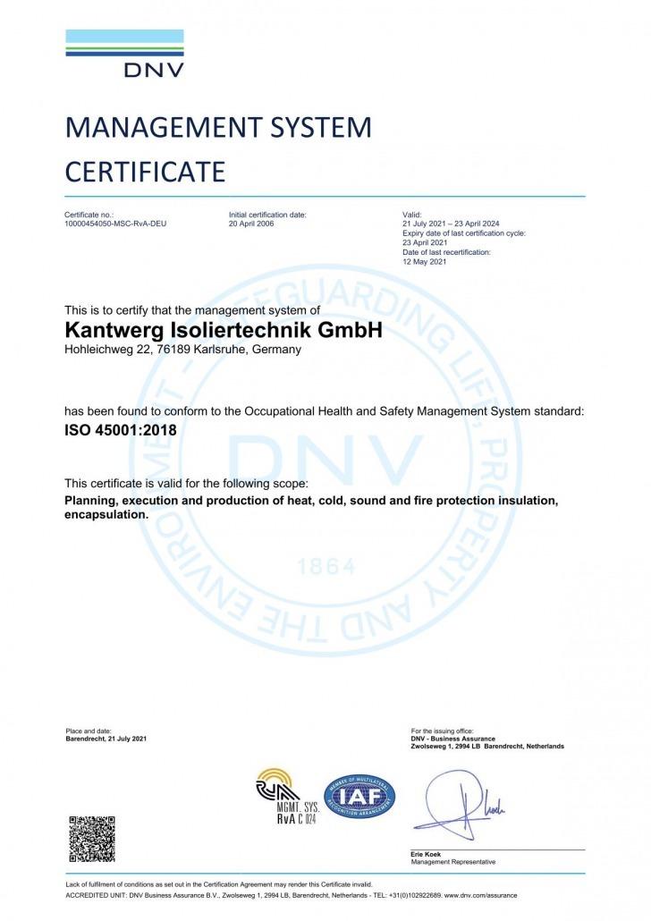 ISO 45001:2018 Zertifizierung Kantwerk Isoliertechnik GmbH Englisch