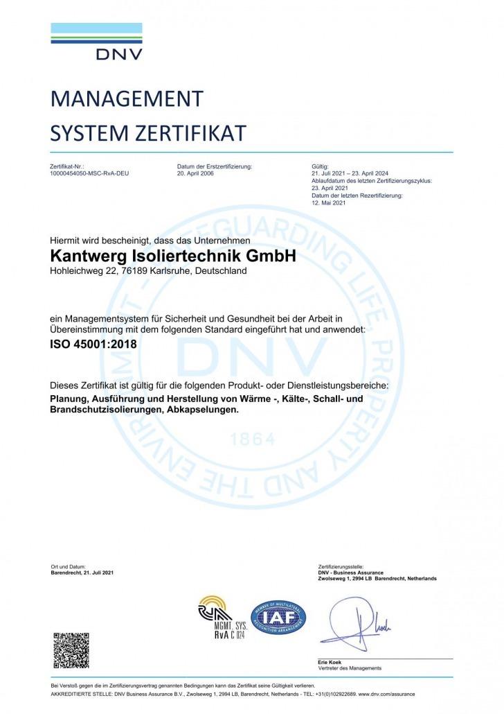 ISO 45001:2018 Zertifizierung Kantwerk Isoliertechnik GmbH