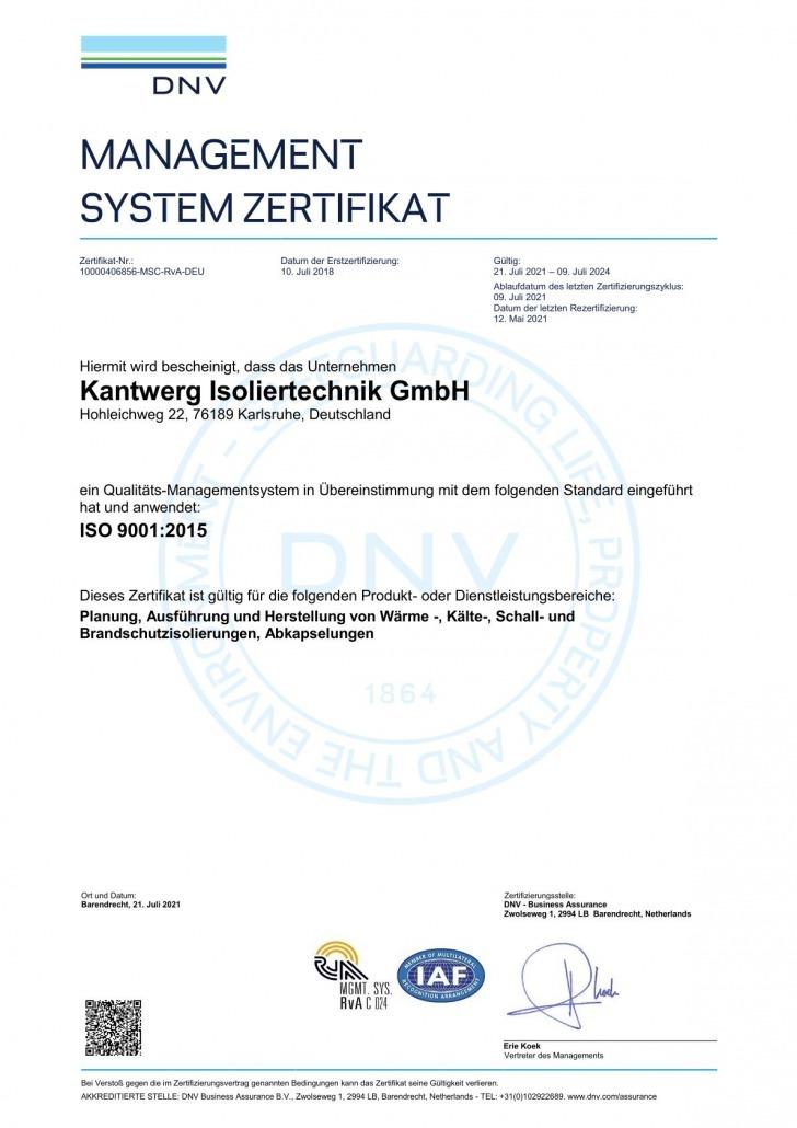 ISO 9001:2015 Zertifizierung Kantwerk Isoliertechnik GmbH