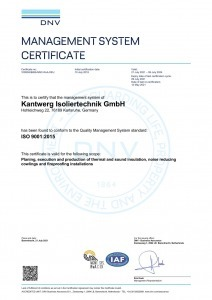 ISO 9001:2015 Zertifizierung Kantwerk Isoliertechnik GmbH Englisch